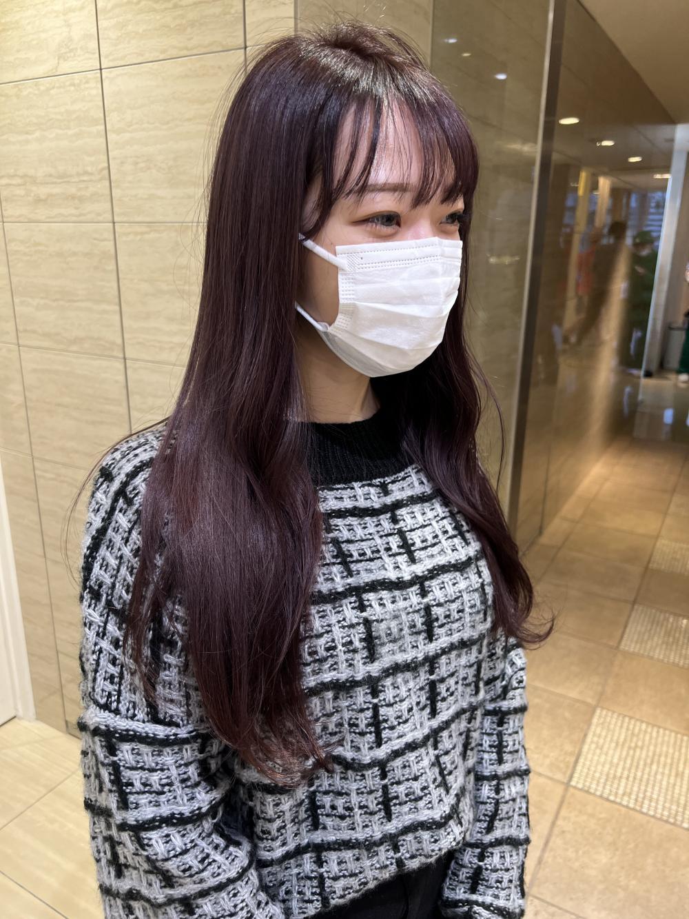 パープルアッシュ/ロングヘア/ブリーチ/naomi
